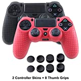 Silicone Skins for PS4 controller - Anti-slip Silicone Cover Skin for Sony Playstation 4/ PS4 Slim/ PS4 Pro Controller - 2 x PS4 Controller Cover Skin with 8 x Joystick Thumb Stick Caps - Black&Red