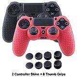 Silicona Fundas para PS4 Controller - Anti-deslizamiento Piels para Sony PS4/SLIM/PRO Mando - 2 x PS4 fundas protectores+8 x Pulgar Agarre Thumb Grips - Negro&Rojo