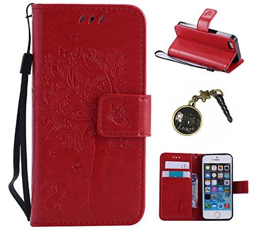 PU Cuir Coque Strass Case Etui Coque étui de portefeuille protection Coque Case Cas Cuir Swag Pour Apple iPhone 5 / 5s / SE +Bouchons de poussière (9AD)