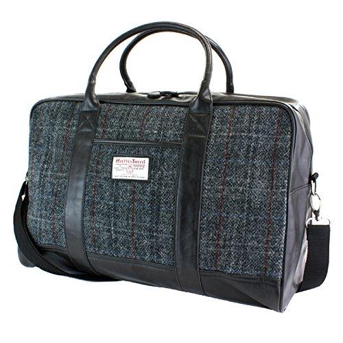 Harris Tweed Reisetasche mit schwarz/grauem Tartanmuster -