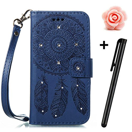 iPhone 8 Plus Bling Flip Hülle,iPhone 7 Plus Leder Schutzhülle,TOYYM Glitzer Diamant Strass 3D Muster Design Folio PU Leder Wallet Full Body Protection Case mit Standfunktion Karteneinschub und Magnetverschluß,Bookstyle Flip Cover Brieftasche Handytasche Innere Bumper Back Case Etui Hüllen für Apple iPhone 7 Plus/8 Plus 5,5Zoll-Dreamcatcher,Lila