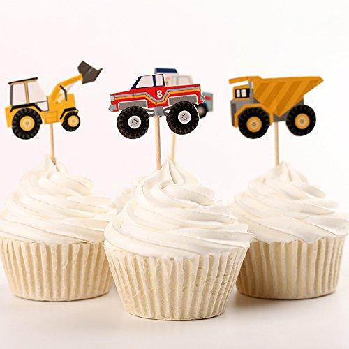 Fumee 24Cupcake Topper Jungen favoriat Fruit Picks Kuchen dekorieren Werkzeug für Party Supplies Engineering vehicles (Cowboy Party Supplies)