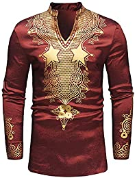 BUSIM Men's Long Sleeved Shirt Autumn Winter Luxury African Style National Style Printing Casual Slim Fashion... - B07H9BWKZ3