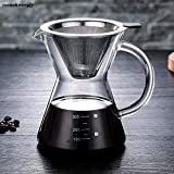 KITCHY 400ml Pour Over Coffee Maker Coffee Drip Paperless Stainless Steel Filter Glass Carafe Coffee Pot Percolators