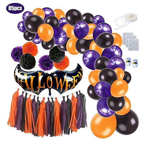 Jannyshop 85PCS Halloween Ballon Set Papier Blume Ball, hängende Ballons Servietten Quasten für Ghost Festival Halloween Party Supplies