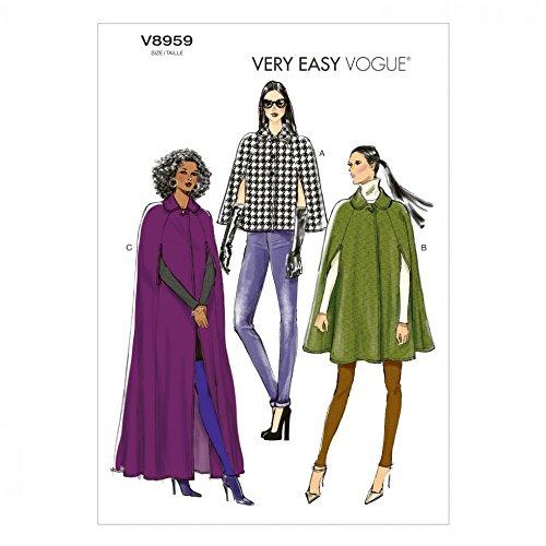 Vogue Damen Schnittmuster 8959Cape Mantel in 3Längen (Langer Mantel-muster)