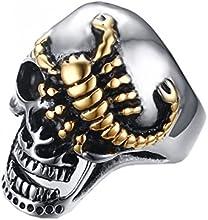 PMTIER Hombres Joyería Disfraces de Halloween Oro Escorpión Cráneo Anillo