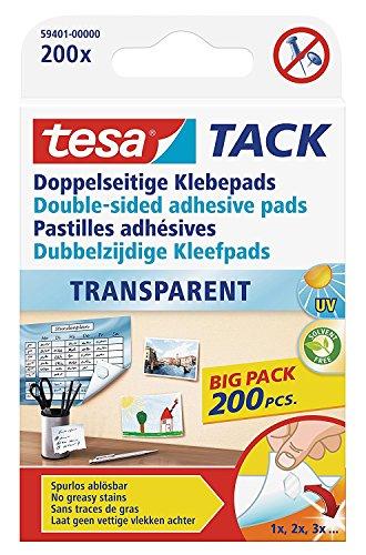 teas 59401 Doppelseitige Klebepads TACK, große Packung mit 200 Pads (2er Pack)