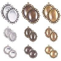 OUNONA 20 Sets Bisel Bandejas colgantes con Cabujones de Cristal Azulejos de C/úpula 25 mm Configuraci/ón de cabuj/ón para bricolaje Fabricaci/ón de joyas