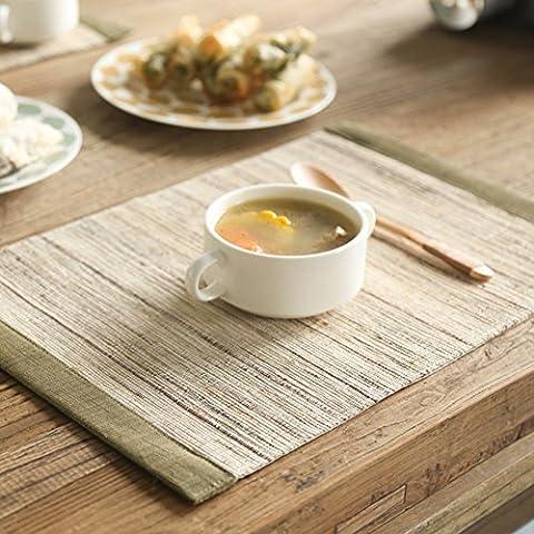 Striped Japanese Cotton And Linen Placemat/ Manual Ramie Mat/ Mat/ Creative Hot Pad-A