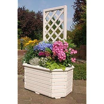 Pflanzkasten für den Garten Blumenkübel rund aus massivem Holz Blumenkasten