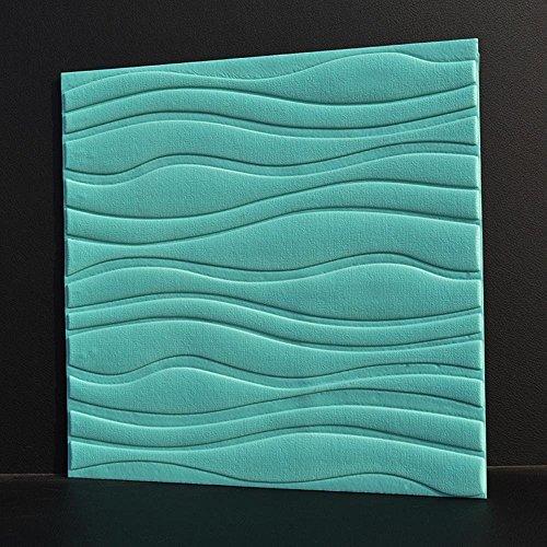 GBYZHMH 10 Stück 3D-Brick Wall Sticker, PE Schaum selbstklebende Tapete abnehmbar und wasserdicht Art Wall Tiles für Schlafzimmer Wohnzimmer Hintergrund TV-Dekor, Blau