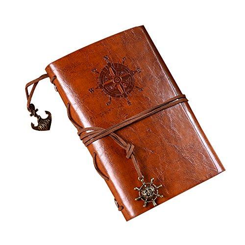 Leder Reise-Tagebuch (13×8.5CM), Soriace Retro Leder Notizbuch mit Ringen Spiral Grenze Täglicher...