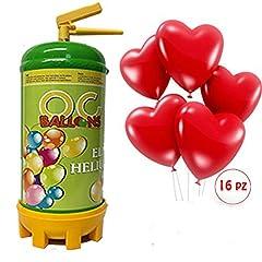 Idea Regalo - ocballoons Bombola Elio per gonfiare Palloncini USA e Getta 1,8 LT + Kit bomboletta Gas Elio +16 Palloncini Forma di Cuore Rossi Omaggio San Valentino