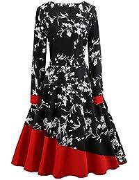 Vintage rétro 1950 s Audrey Hepburn imprimée Fleurs Manche Longues Grande  Taille Robe de soirée décontractée Cocktail 71240d17c08