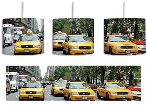 Taxis in New York inkl. Lampenfassung E27, Lampe mit Motivdruck, tolle Deckenlampe, Hängelampe, Pendelleuchte - Durchmesser 30cm - Dekoration mit Licht ideal für Wohnzimmer, Kinderzimmer, Schlafzimmer