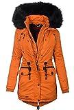 Marikoo Damen Designer Winter Jacke warme Winterjacke Parka Mantel B390 [B390-Rose-Orange-Gr.S]