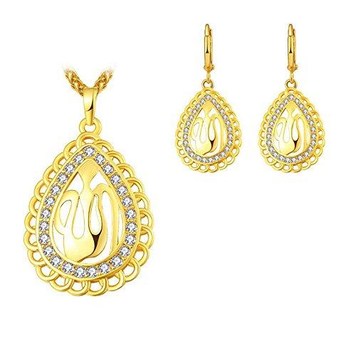 Schmuck Set Damen Religiöse Muslimische Islam Koran Allah Kette Muslim Ohrringe Anhänger Gold/Silber Kristall Wassertropfen Islamische Halskette (Gold)