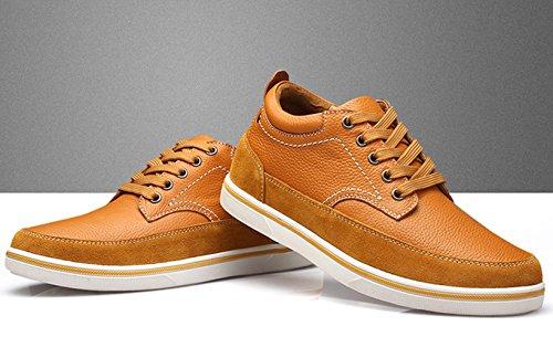 chaussures d'hiver chaud pour homme Sneakers Derbies plat caché ascenseur printemps Marron
