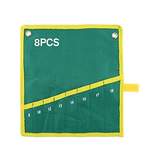 CAIDUD Schlüssel-Werkzeugtasche-Suite Portable 8 Pocket Green Canvas Schraubenschlüssel Werkzeug Aufbewahrungstasche Organizer Halter -