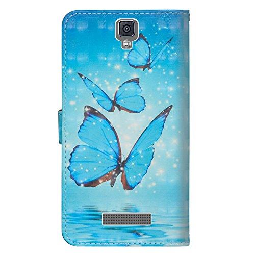 sinogoods Für ZTE Blade L5 / L5 Plus Hülle, Premium PU Leder Schutztasche Klappetui Brieftasche Handyhülle, Standfunktion Flip Wallet Case Cover - DREI Schmetterlinge