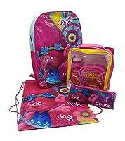 Trolls Back to School Set including Back Pack, 3pc Lunch Bag Water Bottle Set, Pencil Case and Poppy Gym PE Shoe Bag