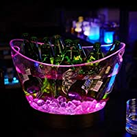 Cubo De Hielo Iluminado Led Cubo De Champán De Carga Cubo De Hielo Grande Luminoso Vino Vino Cerveza Cubo De Hielo