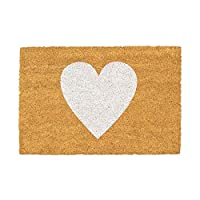 Nicola Spring Non-Slip Coir Door Mat - 40 x 60cm - White Heart - PVC Backed Welcome Mats Doormats