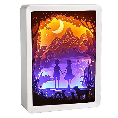 XZYP Papercut Leuchtkästen, ABS-Rahmen Papercut Leuchttischen Nachtlichter Papier Skulpturen Nachtlicht-Lampe Der Kreativen Schatten Gemälde (Hand in Hand)