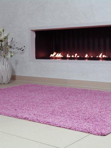 benuta Teppiche: Shaggy Langflor Hochflor Teppich Swirls Rosa 200x290 cm - schadstofffrei - 100% Polypropylen - Uni - Maschinengewebt - Wohnzimmer