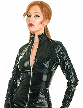 Vestido largo ajustado con cuello alto de PVC. Negro, talla 8+