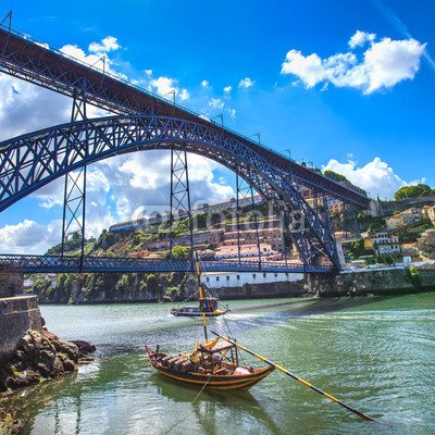 leinwand-bild-20-x-20-cm-oporto-or-porto-skyline-douro-river-boats-and-bridge-portugal-bild-auf-lein