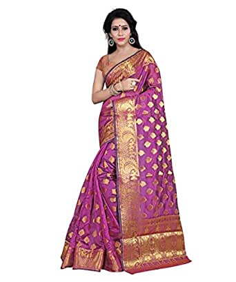 Hinayat Fashion Women's Banarasi Silk Saree (HNT01SRI410_Pink)