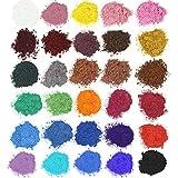 Wtrcsv Epoxidharz Farbe 150g (30er×5g), Seifenfarbe Set, Metallic Farben Pigment, Mica Pulver Pigmentpulver Farbpigmente für Epoxidharz Epoxy Resin Harz, 30 Farbe(Blau Schwarz Gold Lila.)