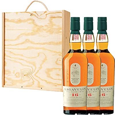 3 x Lagavulin 16 Year Old Single Malt Scotch Whisky in Pine Wood Gift Box With Handcrafted Gifts2Drink Tag