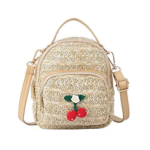 Mitlfuny handbemalte Ledertasche, Schultertasche, Geschenk, Handgefertigte Tasche,Frauen-wilde Blumen-KirschCrossbody Art- und Weiseschultertasche