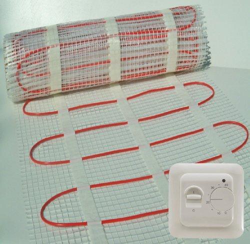 Elektro-fußbodenheizung Kabel (Fußbodenheizung Matte + Thermostat. * ALLE Größen * Heizung Elektro Bodenwärme, für Einbau unter Boden-Fliesen. 150W/M²)