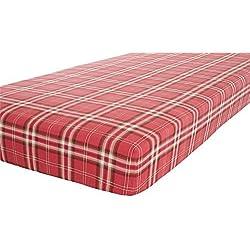 Tela escocesa rojo marrón individual 90x 190cm, 100% cepillado algodón sábana bajera ajustable