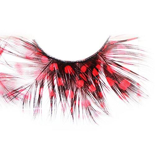 Lash & Co - Faux cils en plumes - - Pois rouges sur plume noire