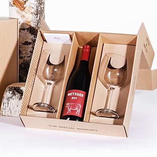 silwy Geschenkbox, Metzger Rotwein 0,75 l mit Magnet-Kristallgläsern inkl. metallischen Nano-Gel-Pads - standsichere Campinggläser, Boot- und Yachtzubehör (Geschenkidee Wein) Drinkware Wein