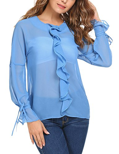 Meaneor Damen Blusen Langarmshirt mit Volant Transparent Shirt mit Schleife Blau m