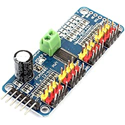 sourcingmap Módulo interfaz para robot arduino Servomotor Controlador 16 canales de 12 bits PMW IIC