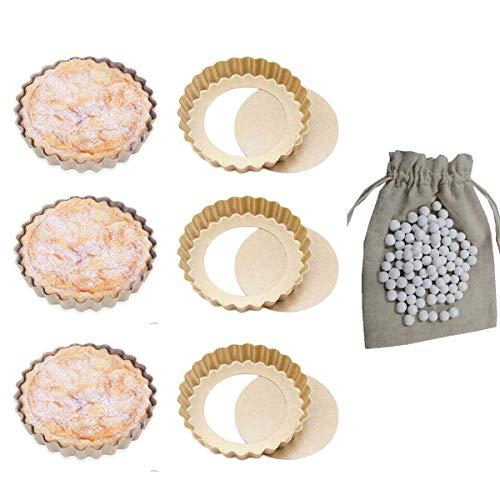 CANDeal 6 Stück Mini Runde Tart Quicheform Pie Pan Backform und 500g Keramik-Backbohnen, Antihaft mit Loser Unterseite und Quiche Pan Formen, Geriffelte Tortenform Torte Pie Dosen Pan Mini-quiche Pan