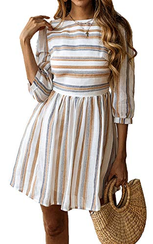 ECOWISH Damen Kleider A-Linie Gestreift Sommerkleid 3/4 Ärmel Rundhals Plissee Kleid Casual Mini Strandkleid Gelb Blau M -