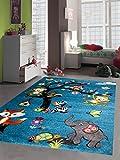 Kinderteppich Spielteppich Kinderzimmer Teppich Zootiere Elefant Fuchs Schildkröte Zebra Affe Eule Eichhörnchen Türkis Größe 140 cm Quadrat