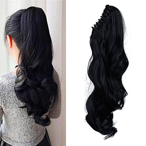 "18"" Queue de Cheval Postiche Extension de Cheveux (Attachée par Pince/Griffe) Ondulé - Claw on Ponytail Clip in Hair Extensions - Noir (45cm-145g)"