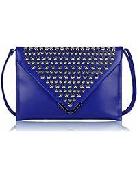 Womens rabat Enveloppes Clous dorés Silm soirée 13 x 9 cm) avec housse PreciousBags - Bleu - bleu,