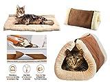 2 in 1 Liegematte und Kuschelhöhle für Katzen und Hundewelpen mit selbstwärmender Unterlage
