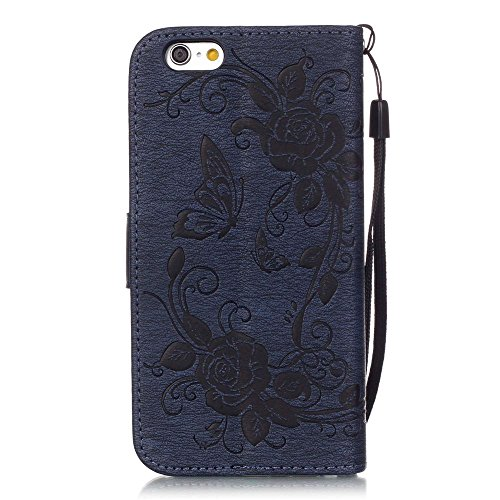 "Nutbro iPhone 6 / 6S Case, 4.7 inch, Flip Walllet Case for iPhone 6S 4.7"", [Kickstand] with Built-in Credit Card Slots Wallet Case for iPhone 6s / iPhone 6, 4.7 inch Dark Blue"