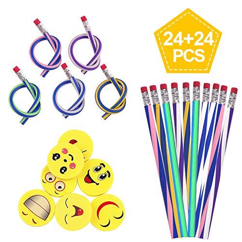 Kinder und Emoji Smiley Radiergummis,SURIZ Biegbare Bleistifte,Flexible Biegsame Bleistifte für Kinder ,Party und Kleiner Geschenke ()